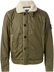Stone Island Faux Fur Collar Bomber Jacket Green