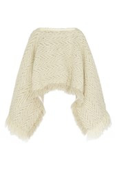 Sacai Luck Leather Trimmed Wool Poncho Cream