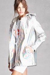 Forever 21 Pixie And Diamond Hooded Jacket Silver