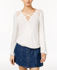 American Rag Mesh Inset Surplice Top Only At Macy's Egret