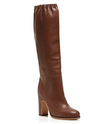 See By Chloe Jane Scalloped Tall Boots Brown