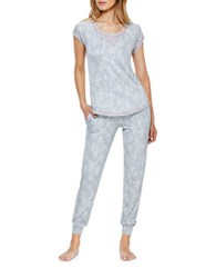 Kensie Short Sleeve Pajama Set White Animal