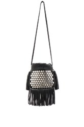 Saint Laurent Small Rivet And Fringe Helena Bag In Black