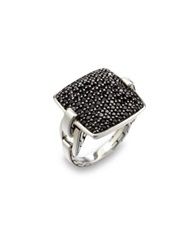 John Hardy Classic Chain Black Sapphire And Sterling Silver Cushion Ring