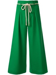 Loveless Cropped Wide Leg Trousers Green