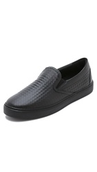 Mcm Steel Satin Meteora Stud Slip On Sneakers Black