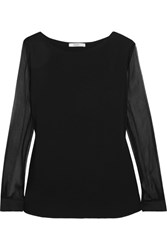 Max Mara Plisse Silk Chiffon And Linen Paneled Stretch Jersey Blouse Black