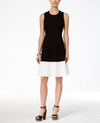 Tommy Hilfiger Colorblocked Knit Fit And Flare Dress Black White