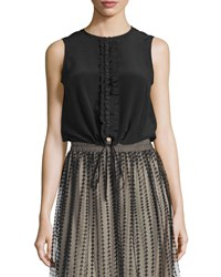 Red Valentino Sleeveless Ruffle Front Blouse Black
