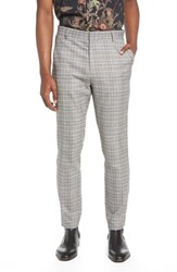 Topman Check Trousers Black