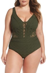 Becca Etc Plus Size Women's Etc. Show And Tell One Piece Swimsuit Bay Leaf