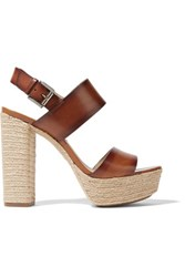 Michael Kors Collection Summer Leather Espadrille Platform Sandals Brown