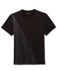 Inc International Concepts Men's Faux Leather Colorblocked T Shirt Only At Macy's Deep Black