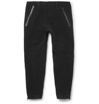 Alexander Mcqueen Tapered Zipped Cuff Crepe Trousers Black