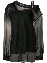 Prada Double Layer Silk Shirt Black