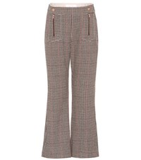 See By Chloe Cropped Wool Blend Trousers Multicoloured