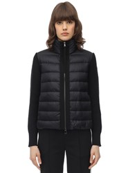 Moncler Nylon And Wool Short Down Jacket Black