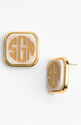 Moon And Lola Women's 'Vineyard' Personalized Monogram Stud Earrings Blonde Tortoise