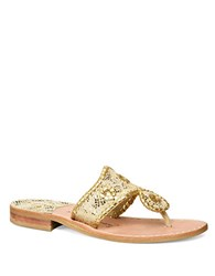 Jack Rogers Lacey Metallic Thong Sandals Gold