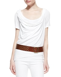 Donna Karan Layered Draped Jersey Tee White