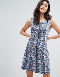 Lavand Patterened Zip Through Dress Unique Multi
