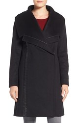 Badgley Mischka Women's 'Nikki' Leather Trim Oversize Coat