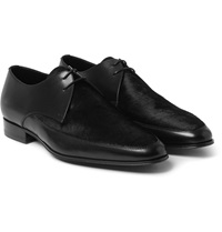 Saint Laurent Calf Hair Panelled Leather Derby Shoes