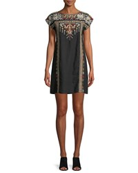 Johnny Was Allya Embroidered Linen Tunic Dress Plus Size Black