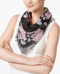 Inc International Concepts Rose Print Triangle Scarf Created For Macy's Black Blush