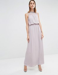 Warehouse Embellished Keyhole Back Maxi Dress Mink Pink