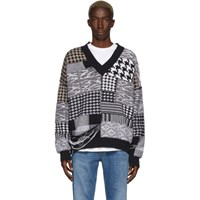 Cmmn Swdn Black And White Apollo Patchwork Sweater