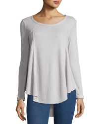 On The Road Waffle Knit High Low Top Grey