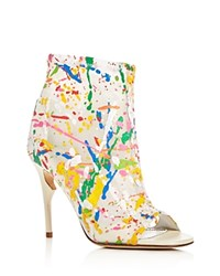 Jerome C. Rousseau Clothilde Paint Splatter Open Toe High Heel Booties White Multi