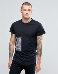 Religion T Shirt With Bonded Animal Print Patch Black