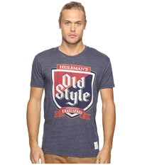 The Original Retro Brand Short Sleeve Tri Blend Old Style Tee Streaky Navy Men's T Shirt Blue