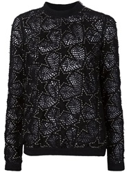 Anthony Vaccarello Embroidered Star Patch Sweater Black