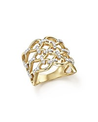 Bloomingdale's Diamond Micro Pave Lattice Ring In 14K Yellow Gold .50 Ct. T.W. White Gold