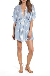 Lost Wander Iris Embroidered Minidress Sky Blue