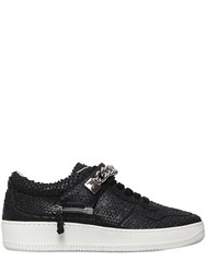 D S De Chained Python Effect Leather Sneakers