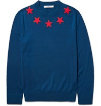 Givenchy Star Appliqued Wool Sweater Blue