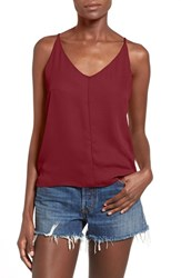 Junior Women's Bp. V Neck Crepe Camisole Red Cordovan