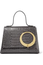Trademark Harriet Croc Effect Leather Tote Gray