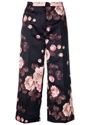 Rochas Floral Print Cropped Trousers Women Polyester Cupro 44 Black