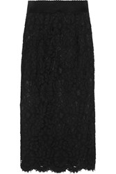 Dolce And Gabbana Corded Lace Midi Skirt Black