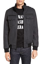 Black Rivet Men's Wool Blend Military Bomber Jacket Charcoal
