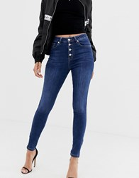 Na Kd Skinny Jeans With Zip Ankle In Mid Blue Navy