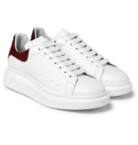 Alexander Mcqueen Larry Calf Hair Trimmed Exaggerated Sole Leather Sneakers White