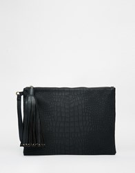 New Look Croc Effect Clutch With Tassel Black
