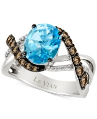 Le Vian Chocolatier Aquamarine 3 Ct. T.W. And Diamond 2 3 Ct. T.W. Ring In 14K White Gold