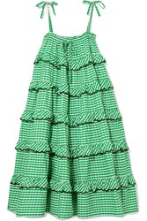 Innika Choo Tiered Embroidered Gingham Cotton Midi Dress Green